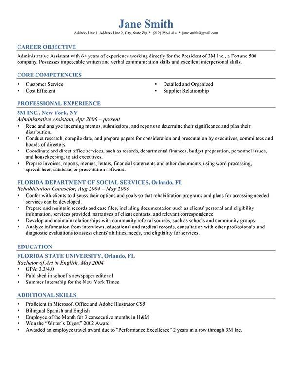 Best 25+ Resume career objective ideas on Pinterest Good - career objective for administrative assistant