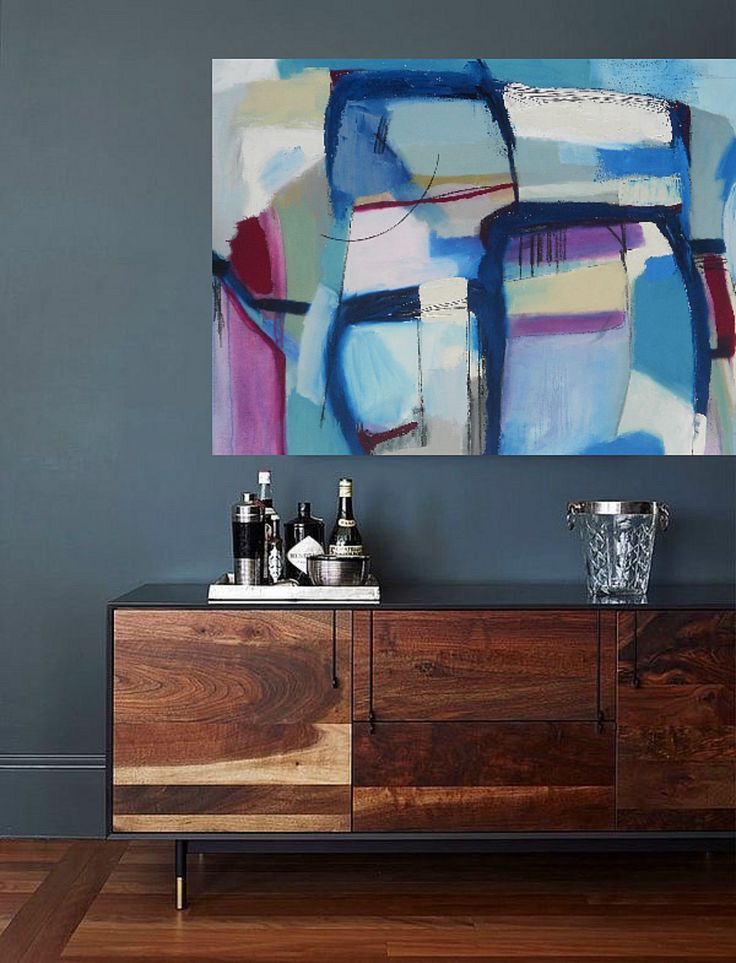 Midcentury Decor Paired With Modern Artwork