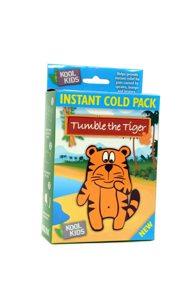 Tumble the tiger instant cold pack pack of two £2.00 Provides on the spot cold therapy for bruising, sports injuries and sprains. Smaller size ideal for children. Quickly relieves pain and swelling Single use, disposable instant ice pack to give relief for pain caused by sprains, strains, bumps and bruises. Simply squeeze and shake to activate the pack and becomes ice cold in seconds.   • Great for treating everyday bumps and bruises • Ideal to help soothe pain caused by headaches or burns