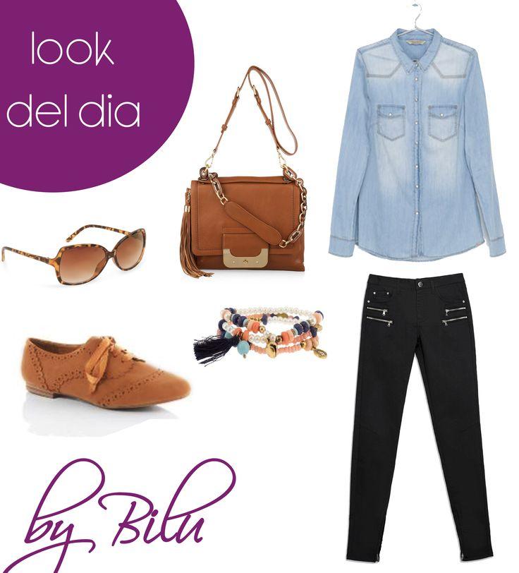 Look del día Chicas moda Honduras Chicas hoy les propongo una camisa denin,  jeans negros con cremalleras con zapatos café blucher y bandolera y gafas  de sol