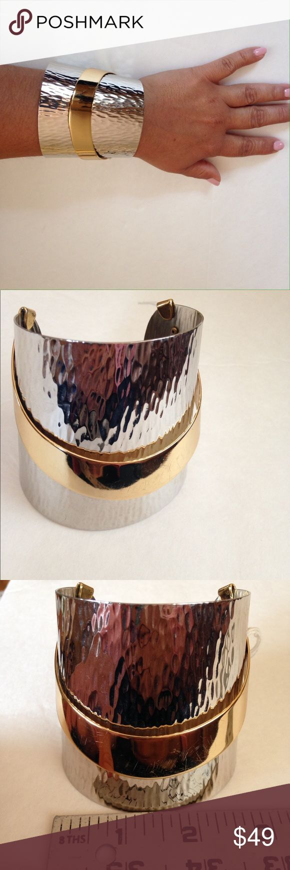 Signed vintage Napier cuff Gorgeous 2 toned cuff. In great condition.  Bundle and save. No holds no trades. Please use offer to negotiate. Napier Jewelry Bracelets