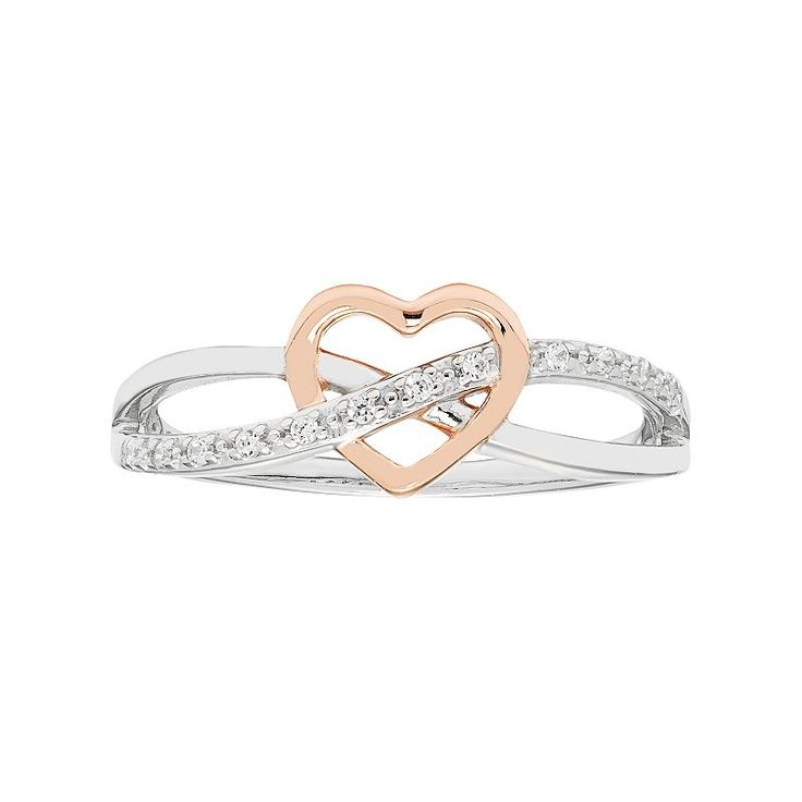 Sterling Silver Diamond Accent Heart & Infinity Promise Ring, Women's, Size: