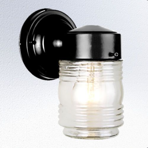 outdoor glass jelly jar porch wall mount light fixture. Black Bedroom Furniture Sets. Home Design Ideas