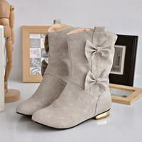 Grey Suede Short Boots with Ribbon