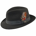 """""""The Nitro"""" is a stingy brim Dobbs hat in fur felt with grosgrain trim and feather. Made in the USA. Item Number: DF2287"""