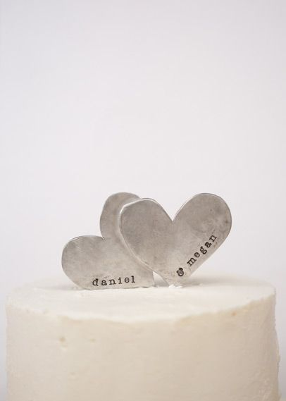 Adorable cake topper! two hearts become one cake topper