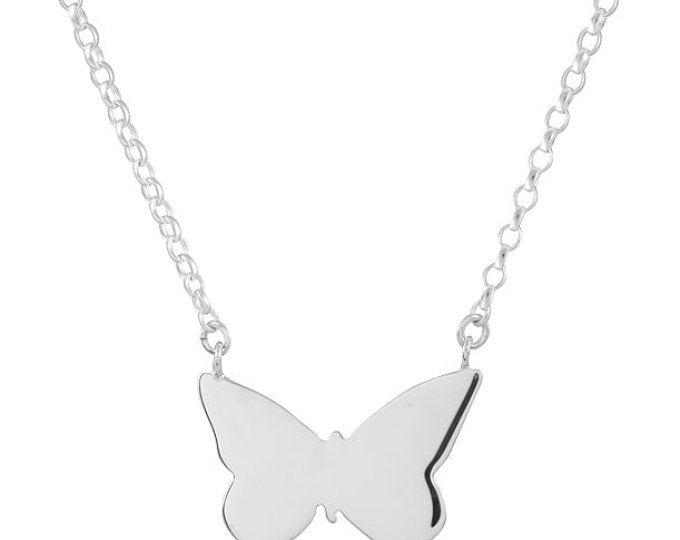 Sterling zilveren vlinder ketting, Rose gouden ketting goud ketting, hanger vlinder, vlinder charme, vlinder sieraden, Animal jewelry