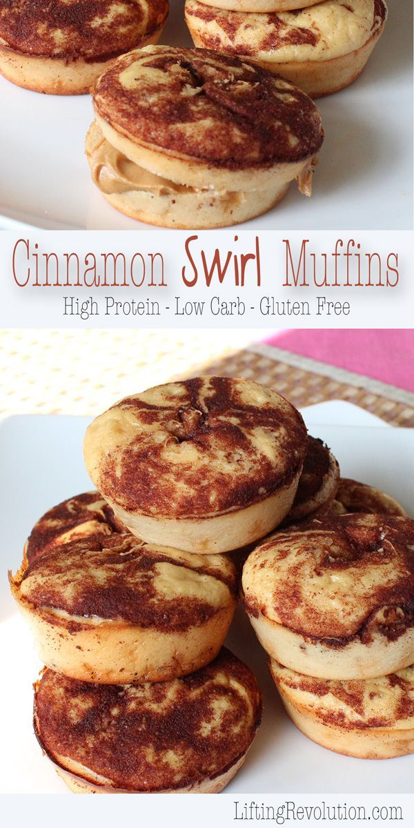 Low Carb High Protein Cinnamon Swirl Muffins   50 healthier muffin recipes