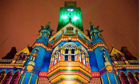 Bradford Town Hall lit up for the city's annual Illuminate festival.