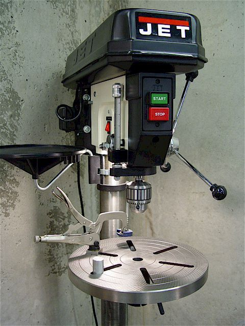 Drill Press Table Clamp Using A Modified Visegrip Clamp