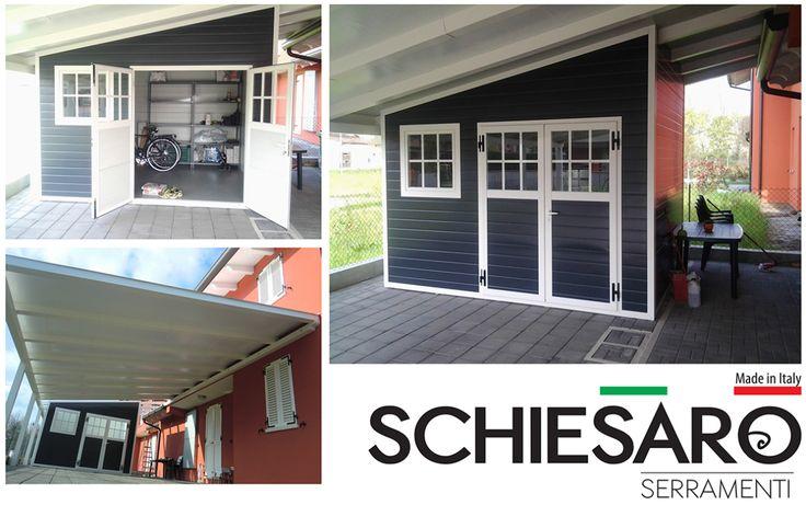 Pergolato in alluminio bianco con casetta sottostante. Porta a due ante e stile inglese su porta e finestra.