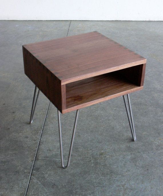 bed side table - This would be so easy to put together. We could even buy the legs and attach them to a crate or old drawer