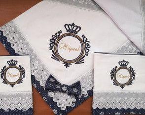 Kit manta de flanela+fraldas brasão