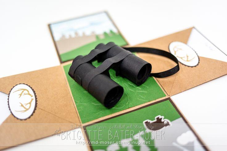 Explosionsbox mit Fernglas aus Papier, als passendes Geschenk für einen Jäger. Hergestellt von Brigitte Baier-Moser mit Stampin'Up!