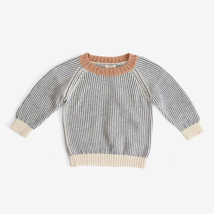 Pima Vertical Stripe Pullover - Blue