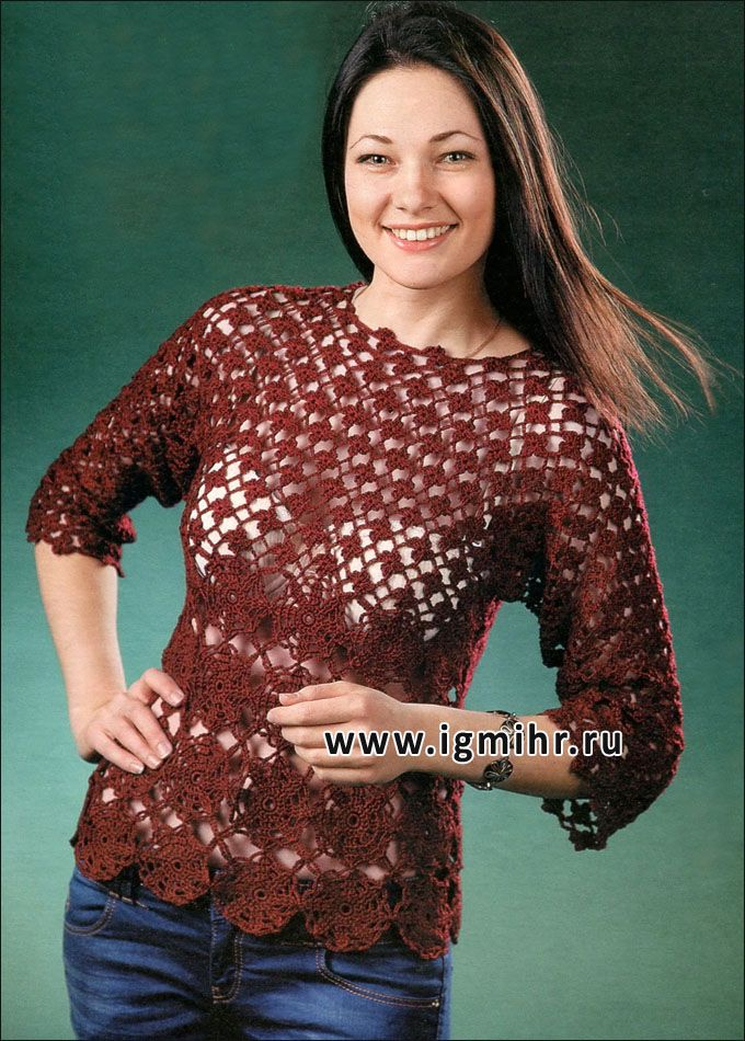 Delicate burgundy sweater  with floral motifs. Hook