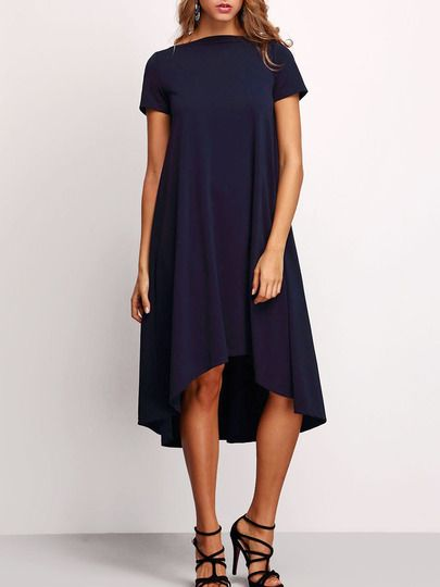 Navy Boat Neck Pleated High Low Dress