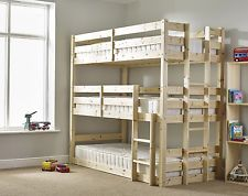 Pandora 3ft Single 3 Tier HEAVY DUTY Solid Pine Triple Sleeper Bunk Bed (EB17)