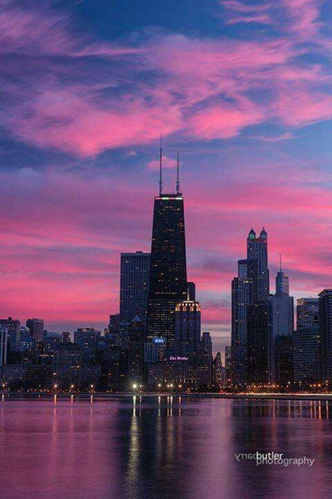 Downtown Chicago, John Hancock building, sunset skies