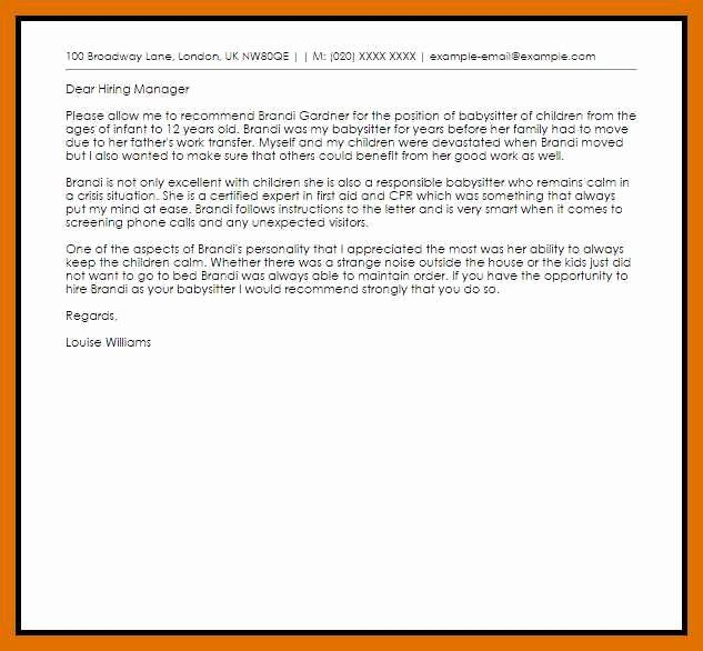 Babysitter Letter Of Recommendation Awesome 5 6 Letter Of Re Mendation For Babysitter Letter Of Recommendation Lettering Teacher Business Cards