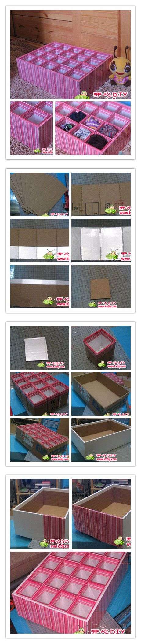 Teach you to make another on the underwear storage box from happy diy steps as shown within the box cardboard size: long 26CM W 12CM (done a bit high, 10CM better offer nearly enough) Cardboard middle of the inner box with CD paper the other side of the blade cutting, do not cut through.  Interval is 8 * 5 * 8 * 5 do 4 * 5 = 20 boxes, not too difficult