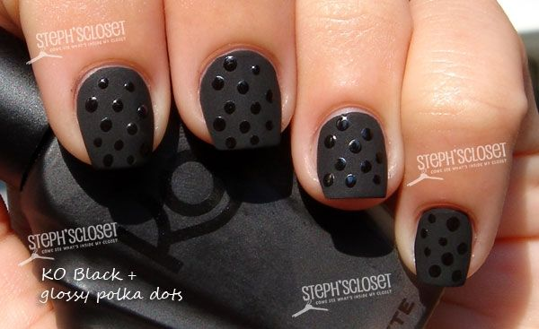 I usually don't wear black or decorated polish, but this black matte w polka dots is fab. It would also work with other colors.: Nails Art, Nails Design, Polkadot, Black Matte, Dots Design, Polka Dots Nails, Black Nails, Black Dots, Matte Nails Polish