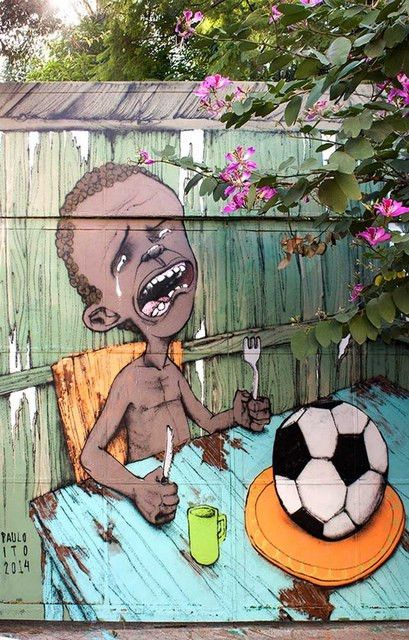 A great poster by graffiti artist Paulo Ito! Football (soccer) is the world's biggest sport, but it has socio-economic consequences beyond the field. Ships fast. 11x17 inches.