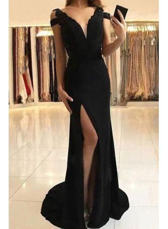 schlichte abendkleider lang schwarz  chiffon kleider online modellnummer xy633  abendkleid