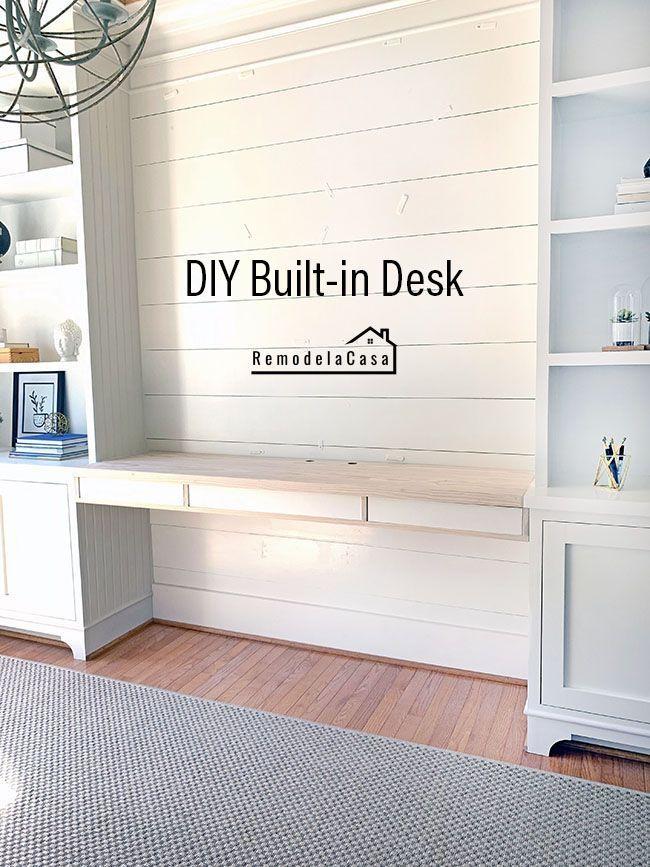 Diy Built In Desk Remodelando La Casa Builtin Desk Diy Office Organization At Work Desks Layout Roo In 2020 Built In Desk Office Built Ins Bookshelves Built In