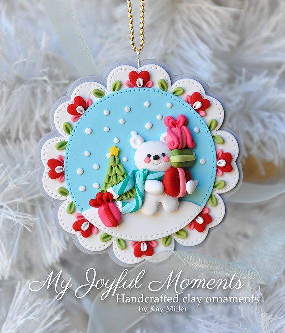 Handcrafted Polymer Clay Winter Polar Bear por MyJoyfulMoments