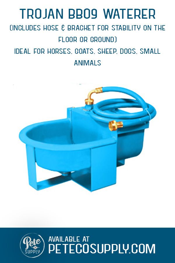 The Trojan BB09 Waterer is an ideal automatic waterer for dogs, small animals, cattle, goats, sheep and horses. Featuring the Ritchie 1/2 water valve for reliable refill. Quick connect with hose attachement. Cannot be heated - for outdoor use during warm weather or in a heated barn.  #horsewaterer #goatwaterer #sheepwaterer #dogwaterer #automaticwaterer
