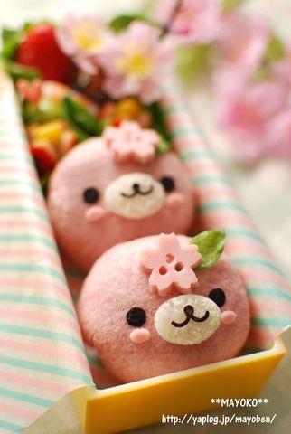 Sakura Seals Kyaraben, Strawberry Bread Bento Lunch by Mayoko