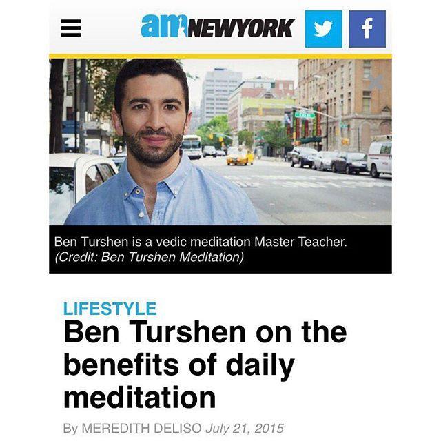 Free Vedic Meditation Classes NYC @ http://benturshenmeditation.com/