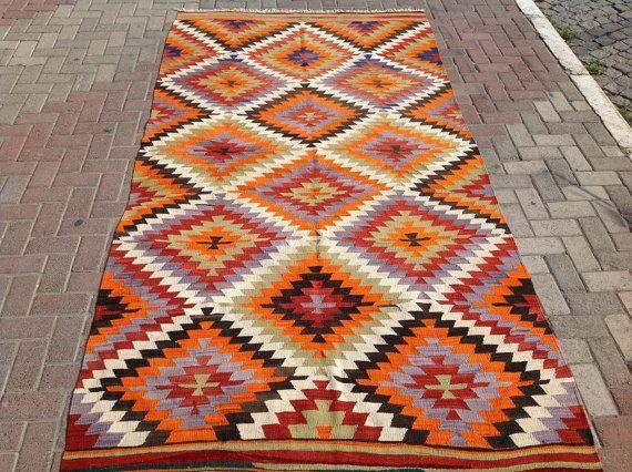 Diamond design Kilim tapijt Vintage Turkse tapijt door PocoVintage
