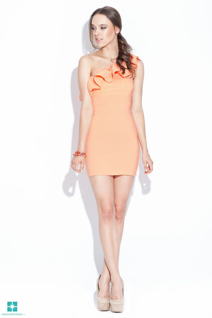 Rochie de seara eleganta portocalie mini
