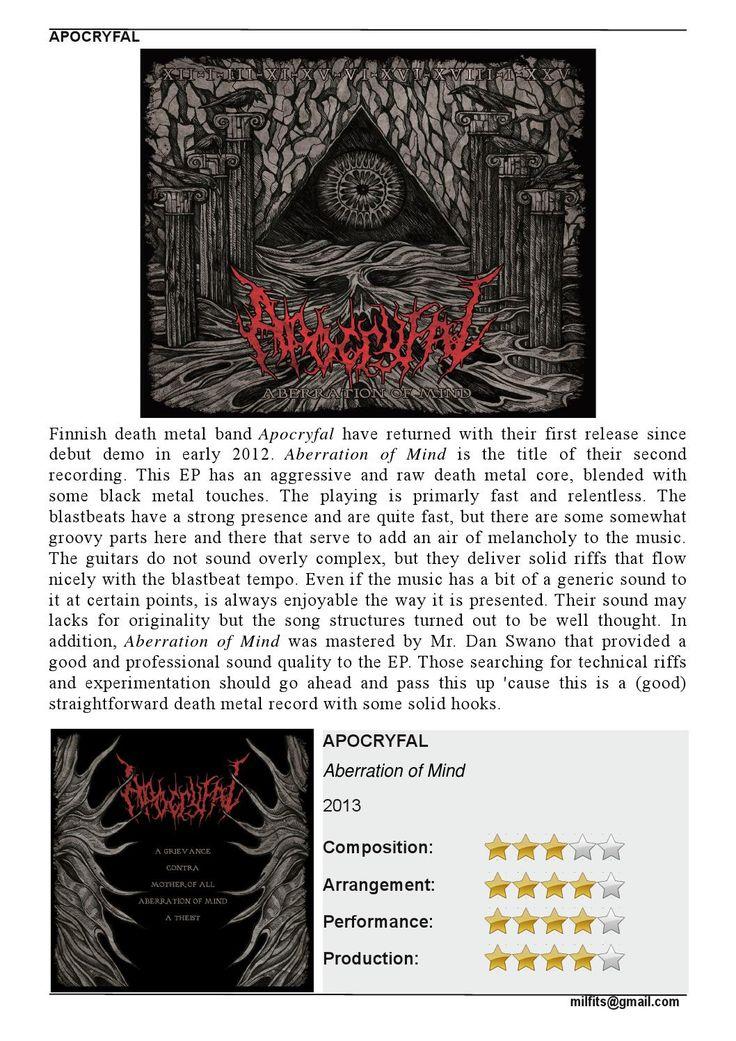 "Apocryfal  ""Aberration of Mind"" EP (Milfits 'zine review)"