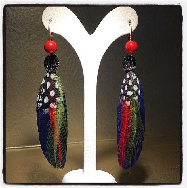 Earrings with Feathers and Coral in Silver clasp - Price:31.00€
