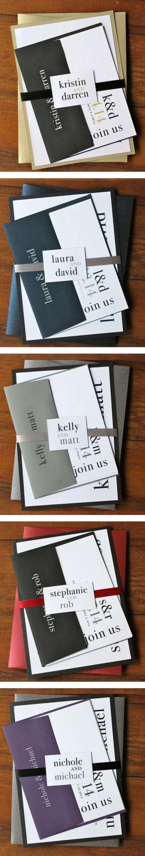 Modern Wedding Invitations, BeaconLane, Favorite Client Customizations from 2014!