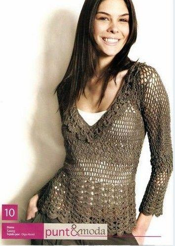 Crochetemoda: Blusa Crochet Marrom