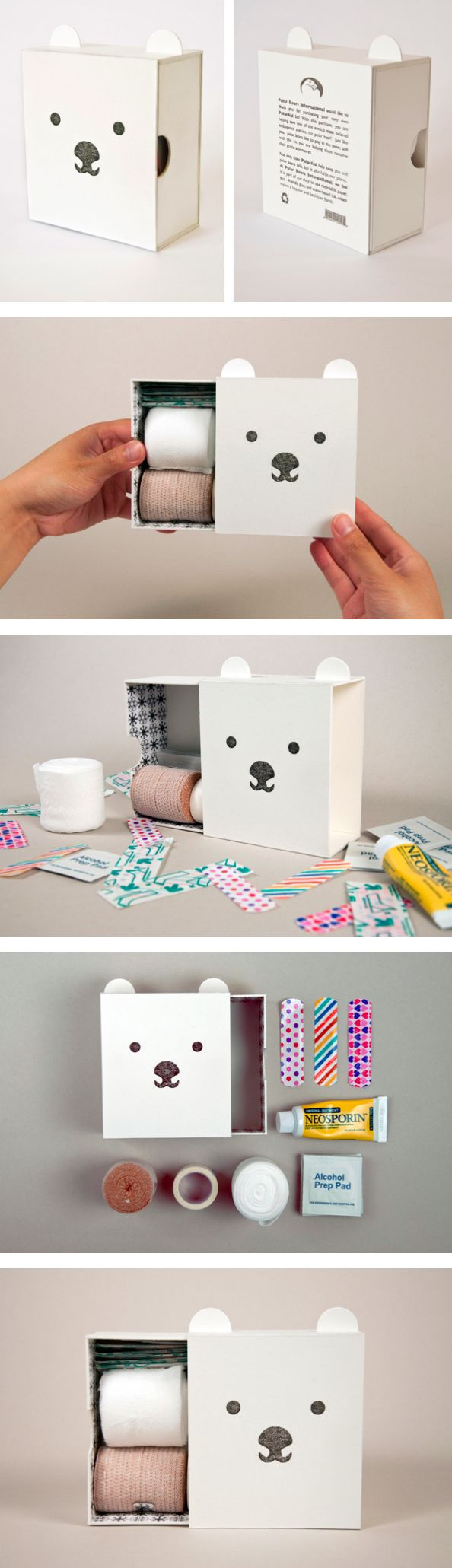 PolarAid Kit - sustainable first aid kit for children by Amy Chen http://www.behance.net/gallery/PolarAid-Kit/8500939