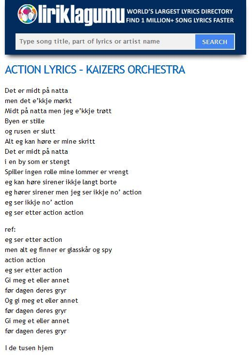 ACTION Lyrics - KAIZERS ORCHESTRA http://www.liriklagumu.com/4591310/action-lyrics-kaizers-orchestra/