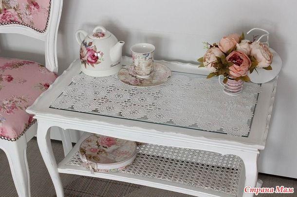 Иногда руки доходят и до собственного дома. Создавали с дочкой девчачий чайный уголок Пришлось связать салфеточку для кофейного столика. Крючок 1,7мм, 100% хлопок. Схема прилагается.