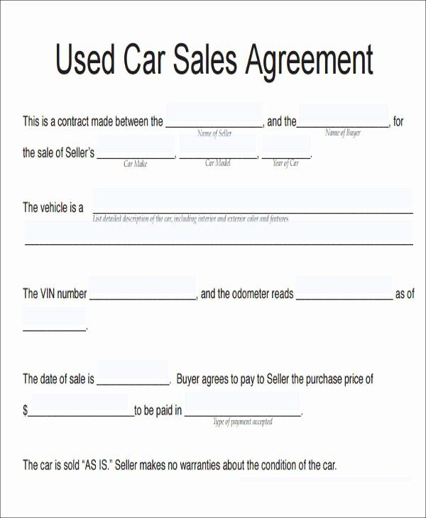 Vehicle Purchase Agreement Template Beautiful 11 Vehicle Sales Agreement Samples Free Word Pdf Contract Template Cars For Sale Sell Car