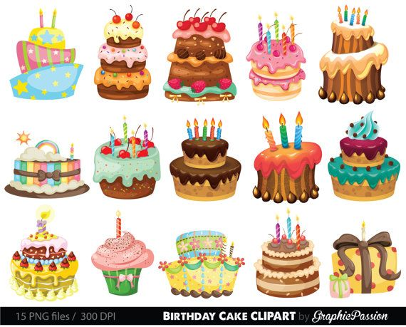 Birthday Cake Clipart. Cake Illustration. by GraphicPassion