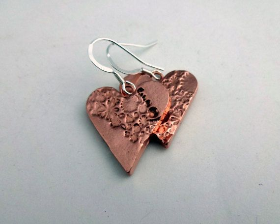 Copper Heart Earrings Floral Copper Earrings by ShineOnShopUK