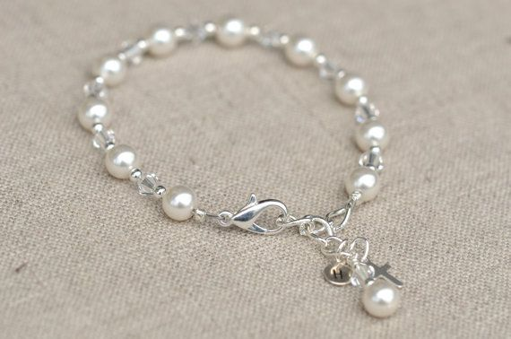 First Communion Bracelet Silver Cross Swarovski Elements With SS Personalized Initial Charm by Willow and Bee also sold at Von Maur during First Communion season!