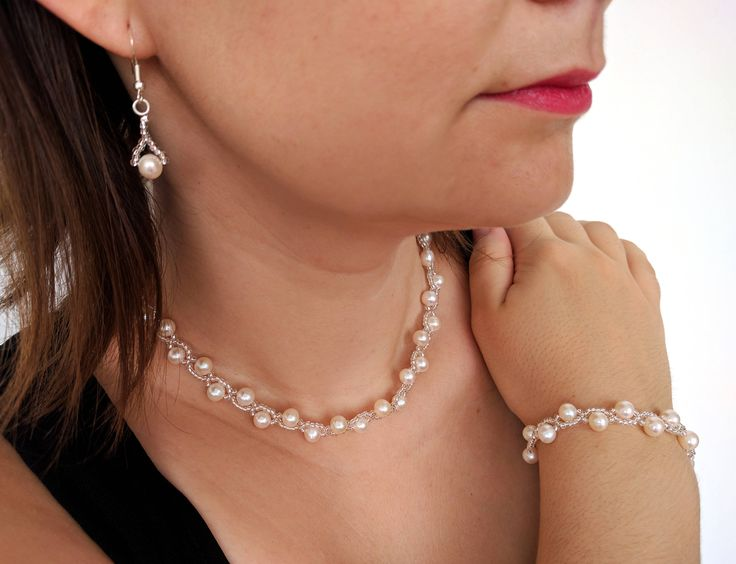 Real freshwater pearl wedding jewelry set with sterling silver parts