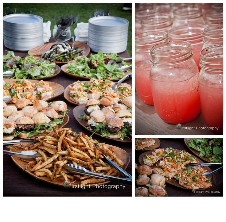 Backyard/Outdoor/Lunch Reception: Gourmet burgers, Seafood Taco Sliders, Broiled Fish, Fries/Potato Wedges, Grilled Asparagus with Parmesan, Salads, and Pink Lemonade.