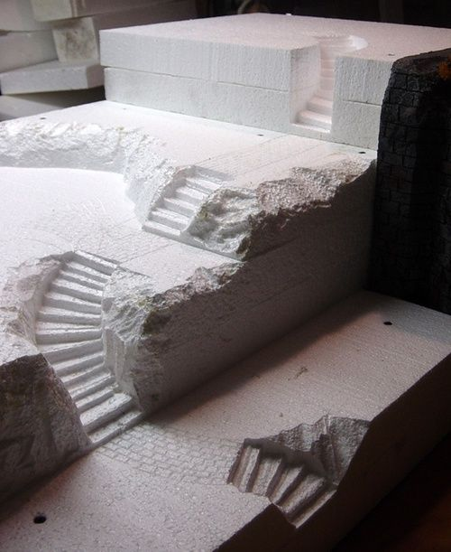 Cut foam stairs for miniature terrain