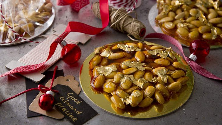 Gold almond praline are perfect edible decorations for the Christmas tree. And they just happen to be delicious, too.